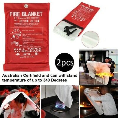 2x Fire Blanket 1 x 1M Escape Shelter Extinguisher Survival Kit Emergency Safety