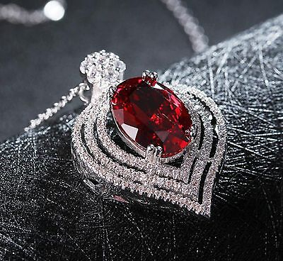 "Luxury 6.15 Ct Ruby Cut Pendant Necklace 925 Sterling Silver 18"" Chain"