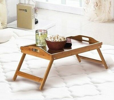 Wooden Bamboo Folding Tray Breakfast Tea Coffe In Bed Dinner  Fold Up Lap Table