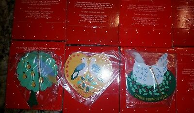 Vintage AVON 12 Days Of Christmas Metal Ornaments Set of 12 NEW