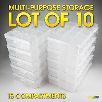 10 X Akro-Mils 5805 Plastic Tool Bits Screw Nut Bolt Fishing Parts Storage Case