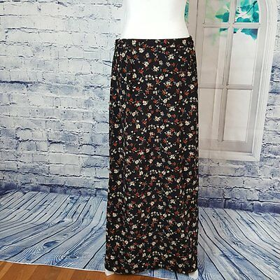 Christopher & Banks Womens Skirt Size 10 Black w/Floral Print Side Zip Long