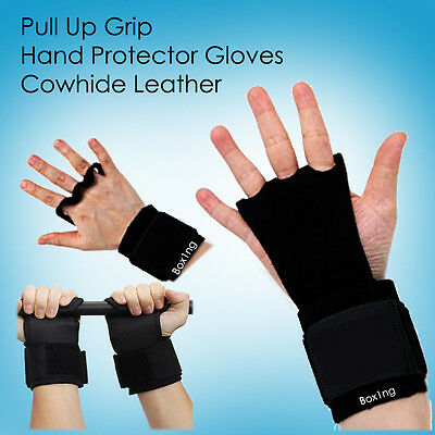 Pullup Grip Gloves Cross Fit Real Leather Hand Protector 4 Gymnastics & Weights