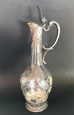 WMF Silver Plate Crystal Pitcher Jug Signed Antique Clear Glass Art Nouveau Deco