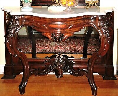 "Pier Table, Console, rosewood, J&JW Meeks, strip laminated, Rococo, 51""w, c1860"