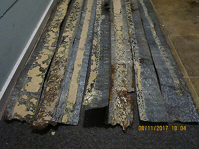 Antique Tin Ceiling Tile Strips. (various sized). Lot of 11 Strips