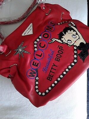 Betty Boop Cute Purse RED TEXTURED LEATHER Girls Woman New HANDBAG MEDIUM (Look)
