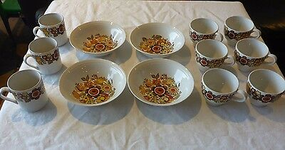 Myott England Festival Cups Mugs And Bowls Collectable Autumn Tones Retro Floral