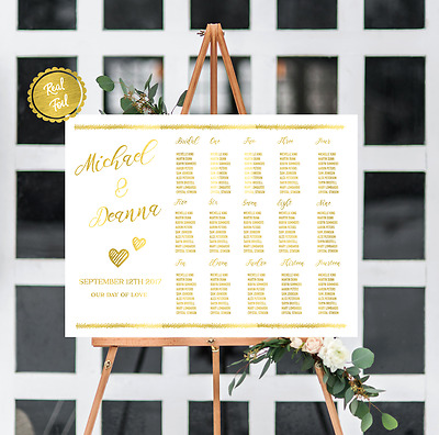 Seating chart // gold seating chart // wedding seating chart // gold wedding