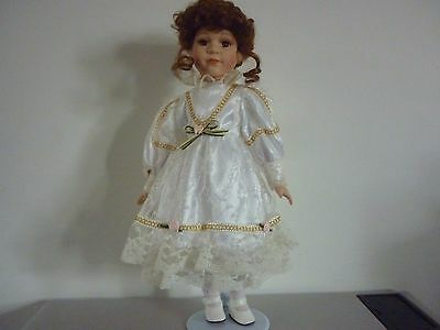 Porcelain Doll  17'' With Beautiful White Lace Dress