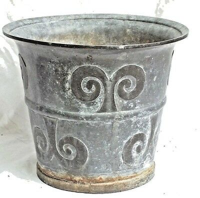 Early Arts+Crafts Pewter Garden Urn With Brass Fleur De Lis Decoration