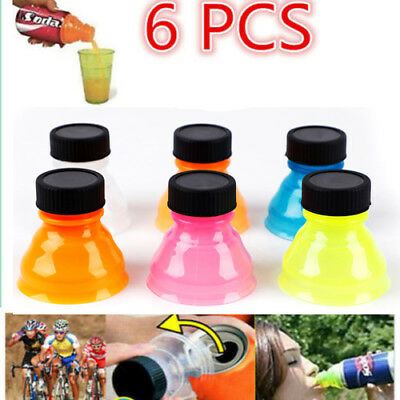 New 6Pcs Plastic Drink Bottle Caps Can Convert Soda Savers Toppers Reusable Tops