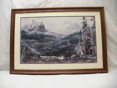 """Home Interior Homco""""Cabins""""Mountain Scene""""Man Riding Horse Picture (DS)"""