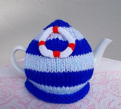 "Hand Knitted ""nautical"" Tea Cosy (Cosie)"