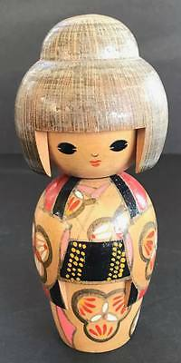 Vintage Kokeshi Japanese Wooden Doll, 5 1/2 Inches Tall