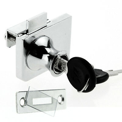 Lock For Showcases Cabinet Swinging Hinged Glass Display Doors + 2 Secure Keys