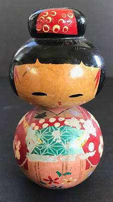 Vintage Kokeshi Japanese Wooden Doll, 4 Inches Tall