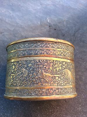Antique Etched Bronze Nut Betel Sukhothai Snuff Box Jar Persian Birds Deer Islam
