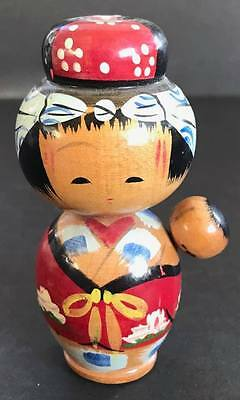 Vintage Kokeshi Japanese Wooden Doll, Woman with Baby, 3 3/4 Inches Tall