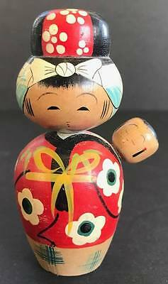 Vintage Kokeshi Japanese Wooden Doll, Woman with Baby, 3 1/2 Inches Tall