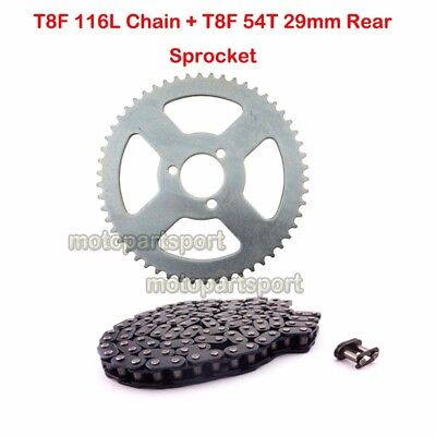 T8F 116L Chain 54Tooth Rear Sprocket For 47cc 49cc Minimoto Pocket Bike ATV Quad