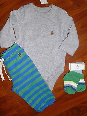 3 6 M BABY GAP 3pc Gray Bodysuit Blue Striped Pants Outfit New Born Gift Boy NWT