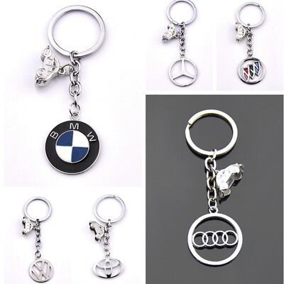 Fashion Car Logo Metal Key Chains Pendant Holder Silver Key for All models cars