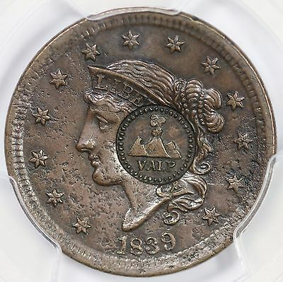 1839 N-9 PCGS Genuine Counterstamp Silly Head Large Cent Coin 1c
