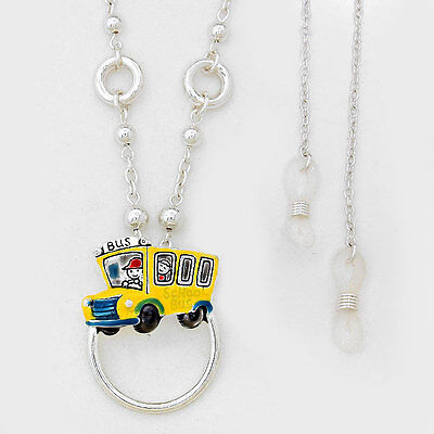 School Bus Driver Yellow Teacher ID Badge Tag Holder Necklace FREE Glass Lanyard