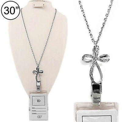 Cross Infinity Designer Scroll Name Tag ID Badge Card Holder Necklace Lanyard