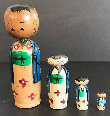 Vintage Kokeshi, Japanese Wooden Nesting Doll Set, 4 1/2 Inches Tall