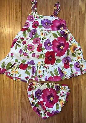 Baby Gap Girls Floral Dress & Bloomers Set Size 3-6 Months Adorable!