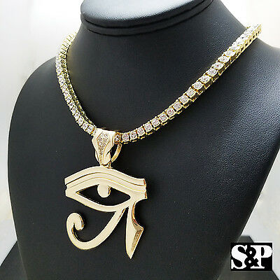 "Hip Hop Egyptian Eye of Horus w/ 18"" 1 ROW DIAMOND Tennis Choker Chain Set"