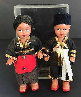 Vintage Indonesian Collector Dolls, 4 1/4 Inches Tall