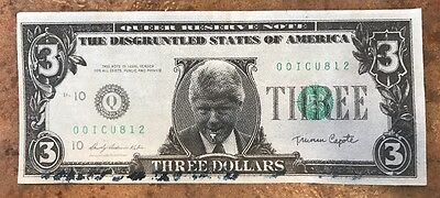 $3 Federal Reserve Note Bill Clinton White House 4 Sale Whistleblower novelty
