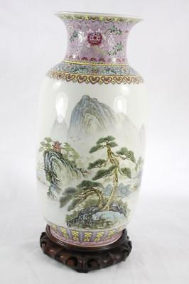 VINTAGE CHINESE FAMILLE ROSE HAND PAINTED PORCELAIN LARGE VASE marked