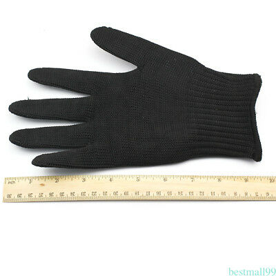 3 Sizes Breathable Cut Resistant Fishing Fillet Glove Black Steel Wire Glove WM7