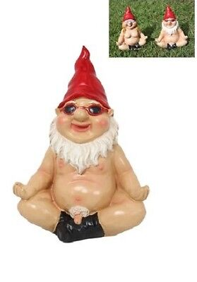 Chilling Nude Male Garden Yoga Gnome Black Boots - Funny Rude Naked Garden Gnome
