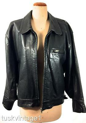 VINTAGE MENS black MARCS genuine LEATHER lined classic cut JACKET L