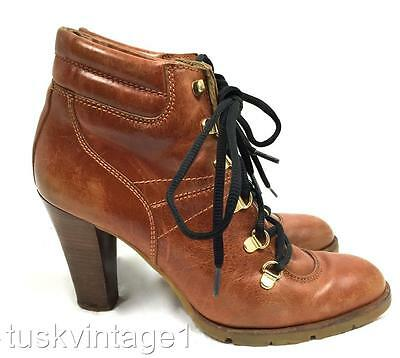 VINTAGE Mickael Kors TAN LEATHER lace up HIKING style high HEELED ankle boots 9