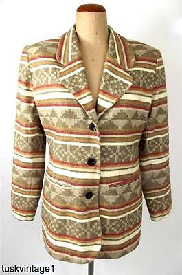 VINTAGE Joshua Berger TAN red cream AZTEC design WOOL blend blazer JACKET 10 S M