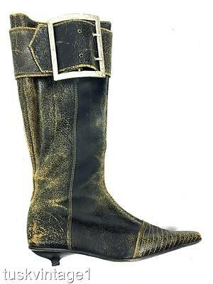 VINTAGE Spanish muted BLACK crackle LEATHER belt BUCKLE pointed TALL BOOTS 39
