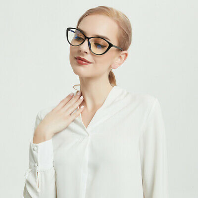 Ladies Cateye Glasses Frames Blue Blocking Clear Lens Computer Reading Glasses