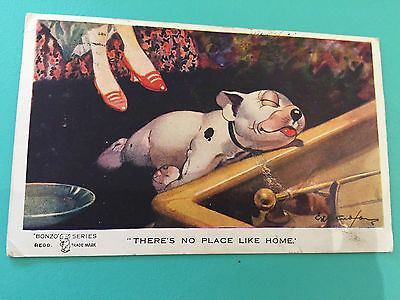 Vintage 1920s Bonzo Series Novelty Postcard GE Studdy There's No Place Like Home
