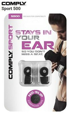 Comply Foam S-500 Sport 2 Pairs In-Ear Earphone Tips Medium Black TS