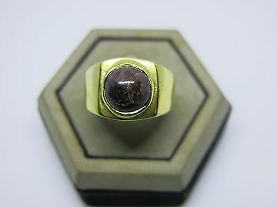 Vintage men Ring Blood stone Jewelry Bronze huge size 12 Antique simple class