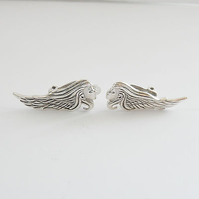 Sterling Silver Art Nouveau Lady Clip on Earrings Hallmarked *8.1grams*