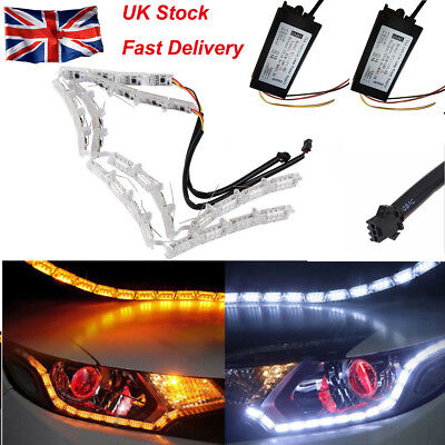 2x Switchback Tear Eye DRL LED Strip Light Sequential Signal Indicator Headlight