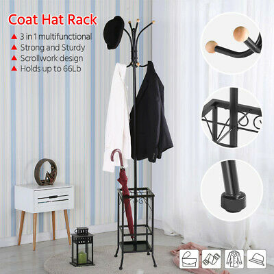 8 Hook Coat Hanger Stand Metal Tree Style Hat Bag Rack Umbrella Hanger Black