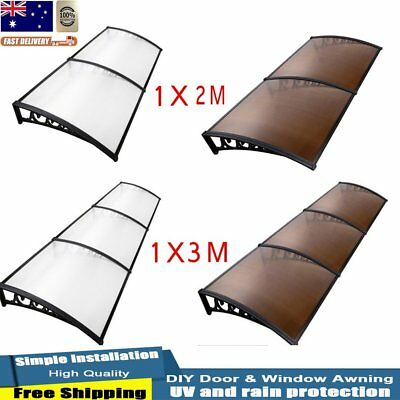 DIY Window Door Awning Cover Outdoor Sun Shield Canopy UV Rain Patio 1x2m/1x3m